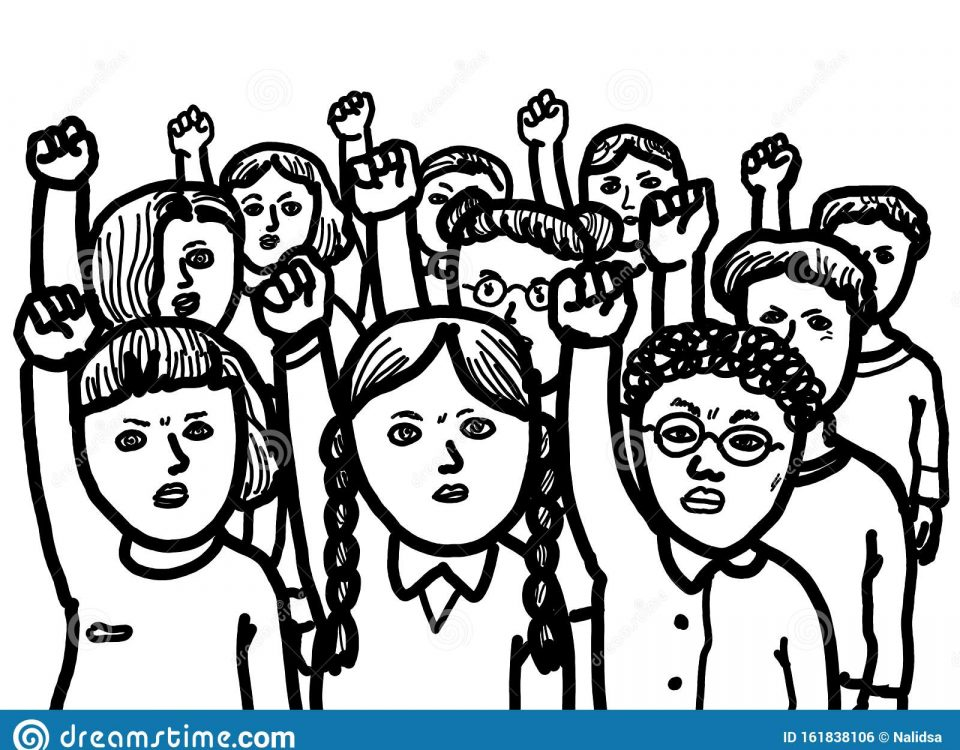 https://www.dreamstime.com/activists-protest-social-movement-group-young-student-protesting-make-climate-change-image161838106